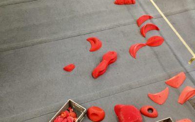 Neue rote Boulder