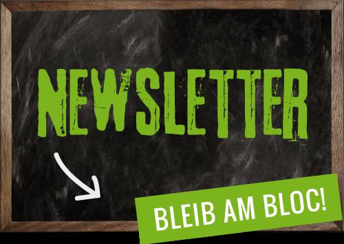 Kreidetafel Newsletter Bloc-Hütte